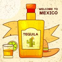 Mexican Background With A Fancy Bottle Of Tequila. Fancy Tequila Name Added. Template For Greeting Card, Invitation Or Poster. Vector