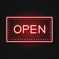 Ouvrez le néon. Prêt pour votre conception, carte de voeux, bannière. Vecteur