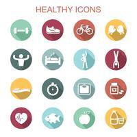 iconos de larga sombra saludables