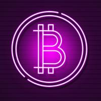 Neon Bitcoin Symbol On Black Background.light Effect. Digital Money, Mining Technology Concept. Vector Icon.