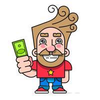 Käufer mit Geld in der Hand, möchte den Warenvektorcharakter kaufen, der zu Ihrem Design, Gruß-Karte bereit ist