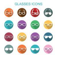 glasögon långa skugg ikoner