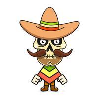 Tecknad mexikanska sockerskalle vektor illustration för Dia De Los Muertos. Gullig manlig skalle
