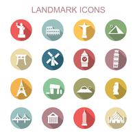 landmark long shadow icons vector