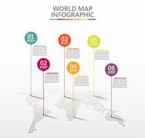Mappa del mondo degli affari. Icone infographic di cronologia progettate per modello astratto della priorità bassa.