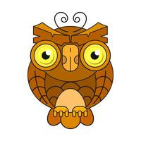 Owl or owl bird sketch vector isolated icon. Wild forest Feathered night bird of prey . Wild fauna and Zoology