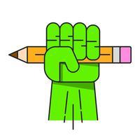 Grön hand med pennavektor för din design