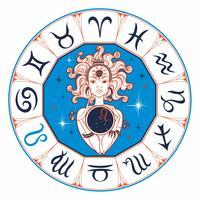 Sternzeichen Leo ein schönes Mädchen. Horoskop. Astrologie. Vektor.