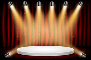White Round Winner Podium on Red Curtain Theater Scene Stage Background. Stage with Studio Lights for Awards Ceremony. Spotlights illuminate. Vector illustration.  Background.