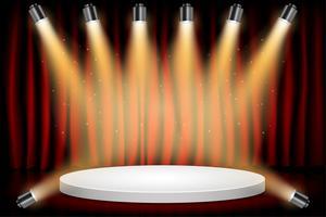 Weißes rundes Sieger-Podium auf rotem Vorhang-Theater-Szenen-Stadiums-Hintergrund. Bühne mit Studioleuchten zur Preisverleihung. Scheinwerfer leuchten. Vektor-illustration Hintergrund.