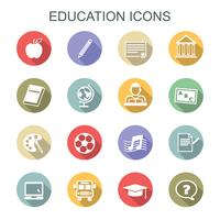 education long shadow icons vector