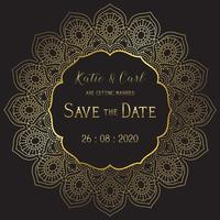 Save the date background with elegant mandala design