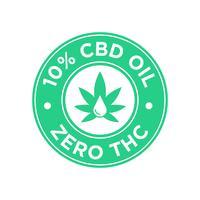 Ícone de 10 por cento de óleo CBD. Zero THC