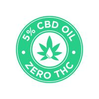 Ícone de 5 por cento de óleo CBD. Zero THC