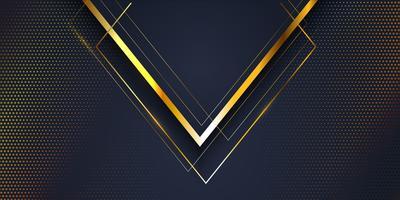 Abstracte bannerachtergrond met gouden en blauw modern ontwerp