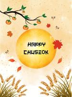 Chuseok banner design.persimmon tree on full moon view background.