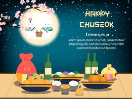 Chuseok banner design. persimmon tree on full moon night view background.