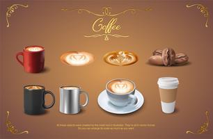 café realista conjunto de imágenes prediseñadas