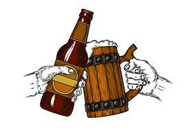 Krug Bier mit Schaum und einer braunen Flasche