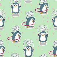 Seamless penguin is exercising for good health pattern.