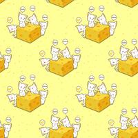 Seamless kawaii cats and cheese pattern