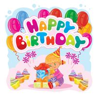 Template for Happy Birthday greeting card.