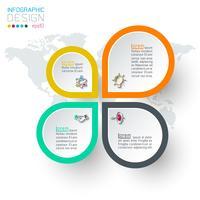Círculos con infografías de iconos de negocios.