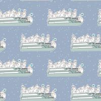 Sömlösa kawaii-katter i färjebåtsmönstret