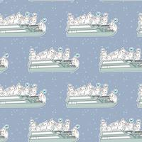 Seamless kawaii cats in the ferryboat pattern