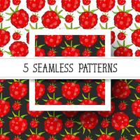 Set Seamless Background With Raspberries, Vector Ready For Your Design