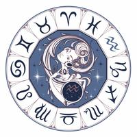 Zodiac sign Aquarius en vacker tjej. Horoskop. Astrologi. Vektor