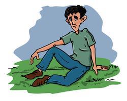 Boy sitting vector illustration