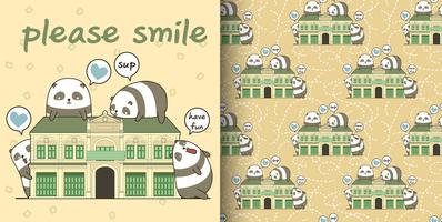 Seamless kawaii pandas with a historic building pattern