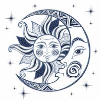 The moon and the sun. Ancient astrological symbol. Engraving. Boho Style. Ethnic. The symbol of the zodiac. Mystical. Vector.