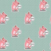 Seamless pink cat says hello pattern. vector