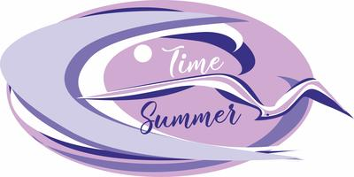 Time summer. Lettering. Sea. wave. gulls. Seascape. Design for travel and vacation. Vector.