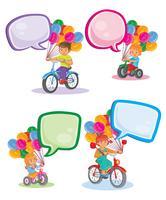Metta le icone i piccoli bambini sulle biciclette