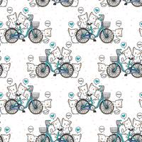 Seamless kawaii cats and bicycle pattern vector