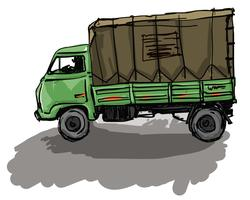 Indian Green Truck Vector