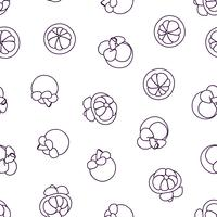Mangosteen doodle hand drawn seamless background.