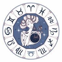 Sternzeichen Waage als schönes Mädchen. Horoskop. Astrologie. Vektor