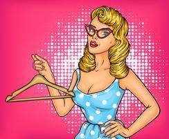 Ilustración vectorial chica pop art con percha
