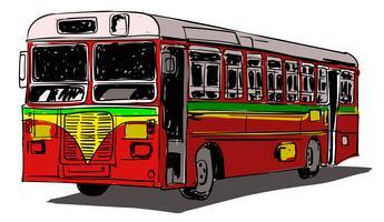 Ilustração em vetor ônibus transporte público