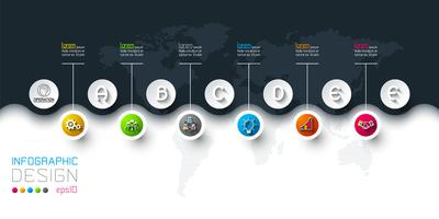 Business circle labels shape infographic in horizontal.