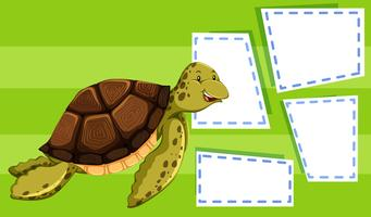 Green turtle on note template