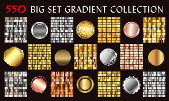 Big collection colorful gradients. Metallic gradients consisting backgrounds. Vector. vector