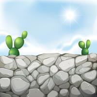 Szene mit Steinmauer und Kaktus