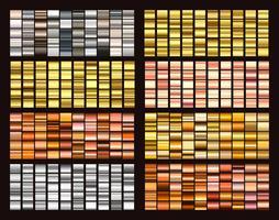 Grandi sfumature colorate di raccolta. Sfumature metalliche composte da sfondi. Vettore.
