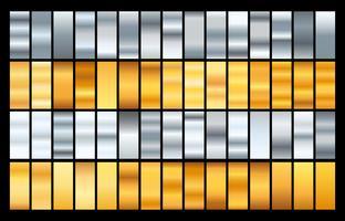 Gradientes coloridos da coleção grande. Gradientes metálicos que consistem em fundos. Vetor.