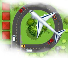Antenne scece mit dem Flugzeug, das in den Himmel fliegt